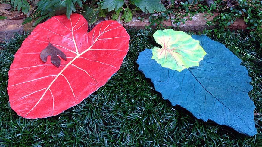 cast concrete leaf birdbaths