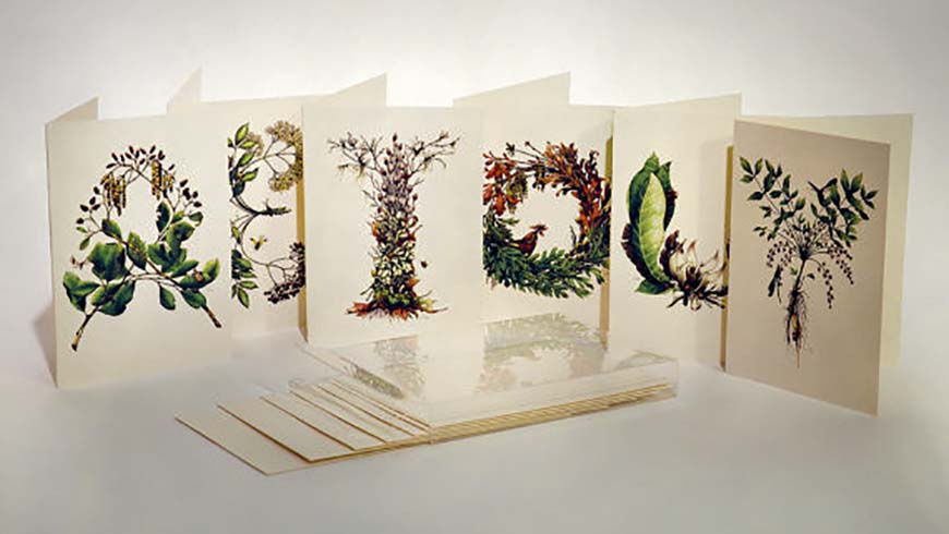 cards with botanical illustrations