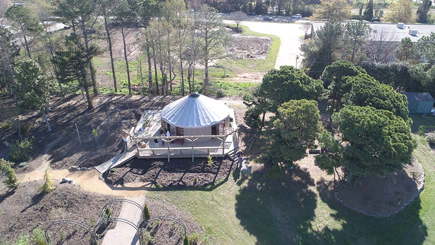 aerial picture of yurt
