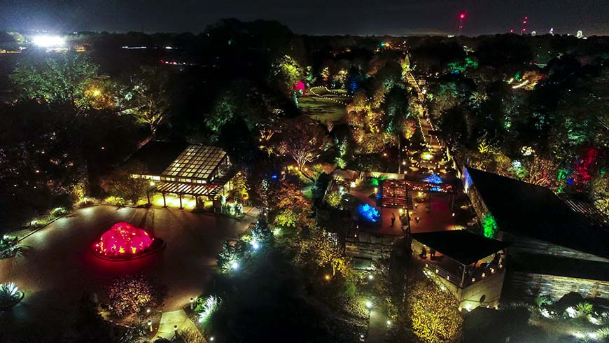aerial view of JCRA grounds at night during Moonlight in the Garden