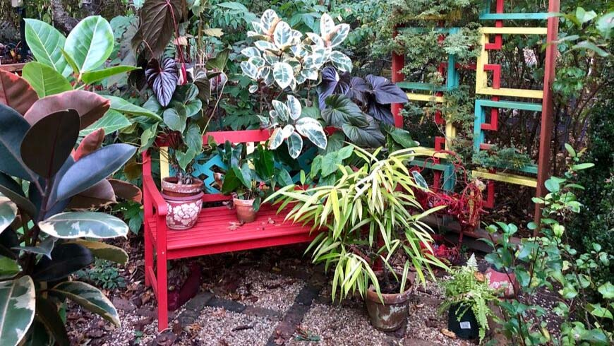 garden scene with potted plants on colorful garden bench