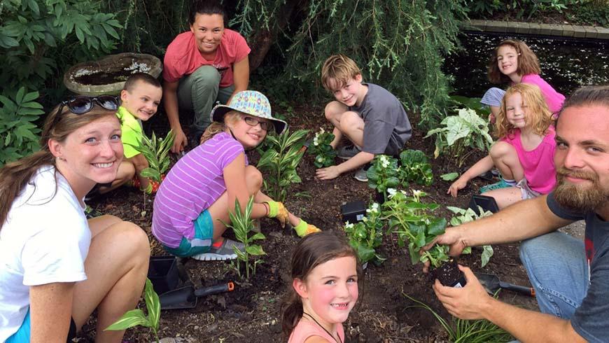 group planting in white garden