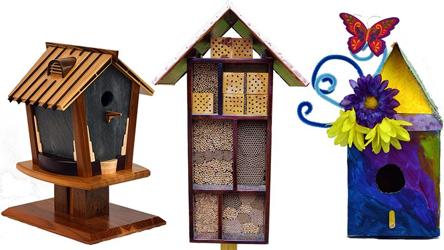 birdhouses and a bee hotel collage