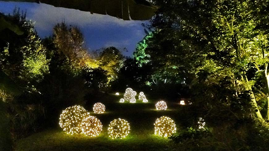 lighted grapevine balls at Moonlight in the Garden