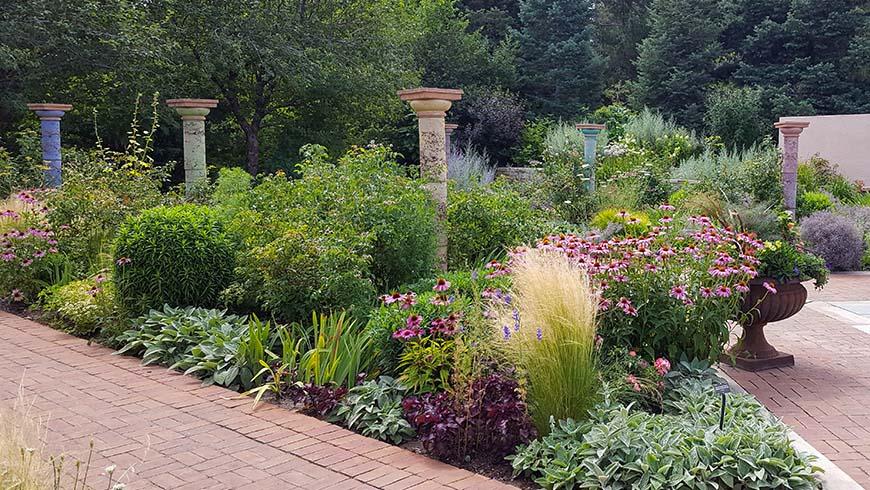 pollinator garden with columns