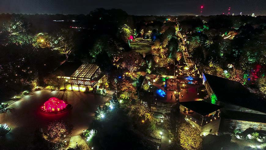 JCRA gardens lighted as seen from a drone