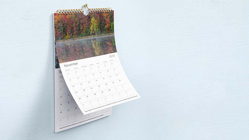 calendar hanging on wall