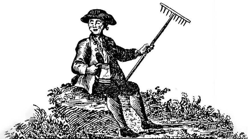farmer with rake line drawing
