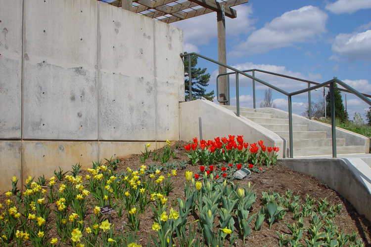 View of the Duch Stair Cascade up to the A. E. Finley Rooftop Terrace