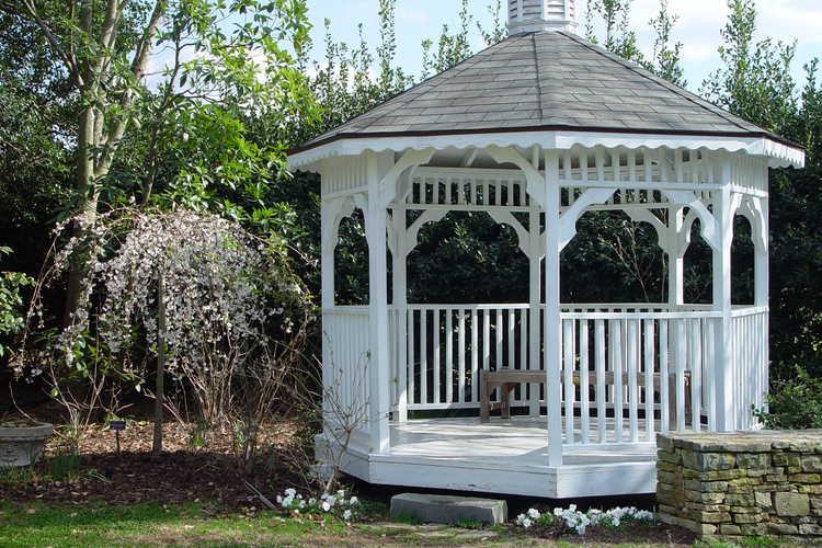 The gazebo in the Klein-Pringle White Garden